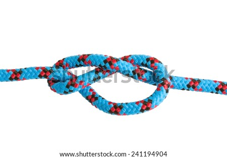 Figure-eight knot tied on a rope on white background - stock photo