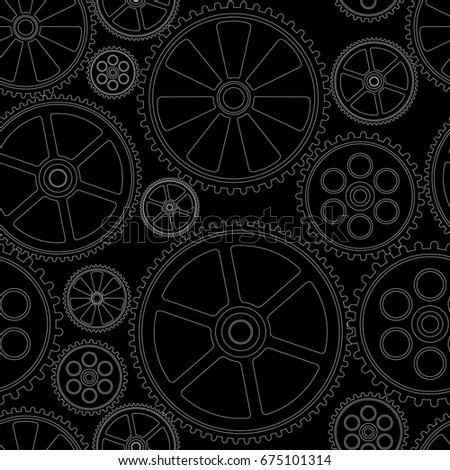 figure gears on a black background, seamless pattern, illustration clip-art