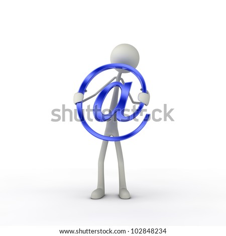 figure hold a at-symbol in his hand - blue - stock photo