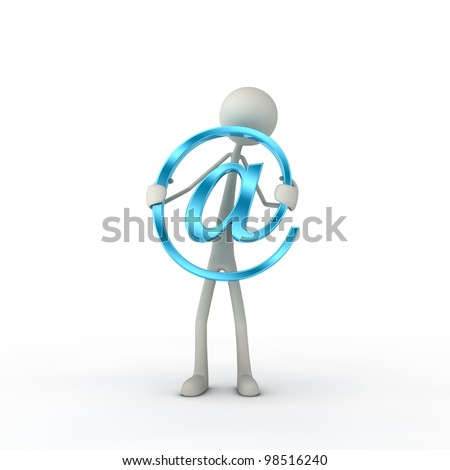 figure hold a at-symbol in his hand - cyan - stock photo