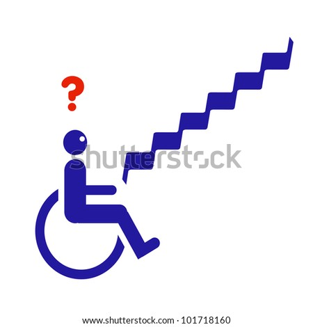 figure in wheelchair at bottom of stairs illustration - stock photo