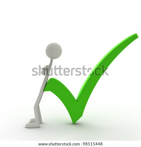 figure lean against a check mark - green - stock photo