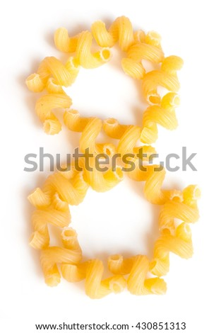 Figure 8 made of macaroni under a daylight isolated on white background