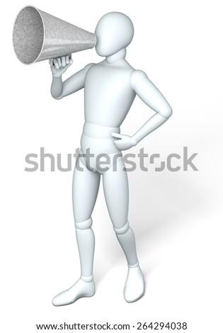 Figure, man using megaphone, illustration, rendering,  on white background - stock photo