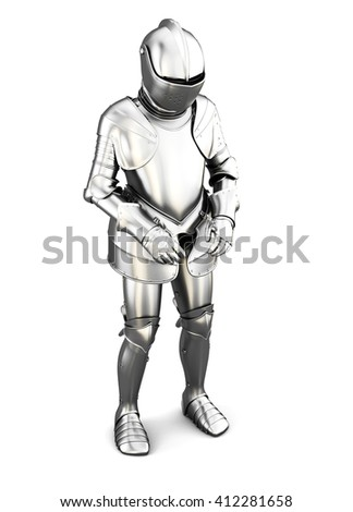 Figure of a knight in armor isolated on white background. Metal armor. Medieval armor. 3d render image - stock photo