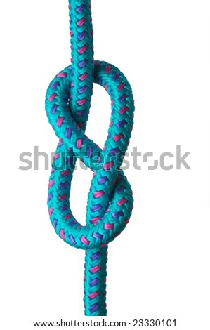 Figure of eight knot on a blue rope with pink and purple highlights, isolated on a white background