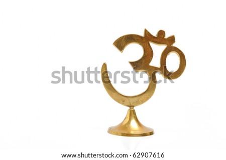 Figure of golden indian symbol aum. isolated on white background - stock photo