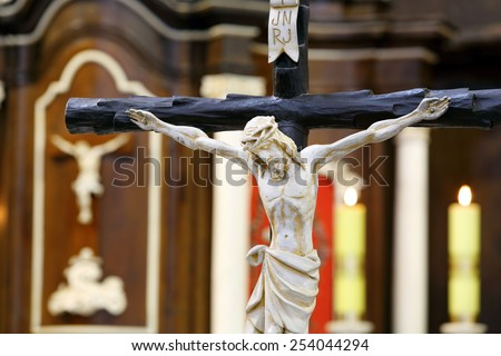 Figure of Jesus crucified, in the church during Easter - stock photo