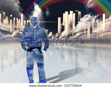 Figure of man stands before heavenly gleeming city - stock photo