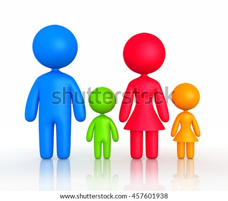 Figure of parents and children standing - 3D illustration   - stock photo