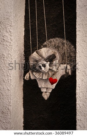Figure of puppet on the wall of puppet theater in Kiev, Ukraine - stock photo