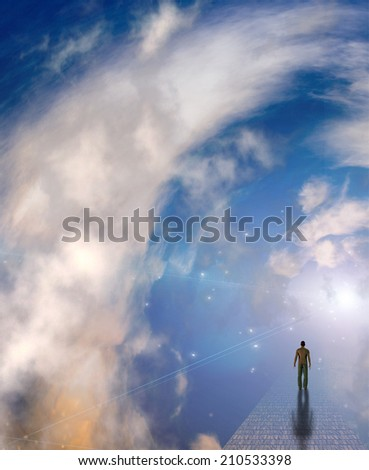 Figure on misty path - stock photo