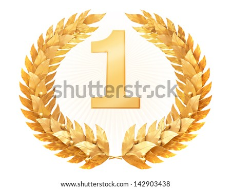 Figure one in a gold laurel wreath - stock photo