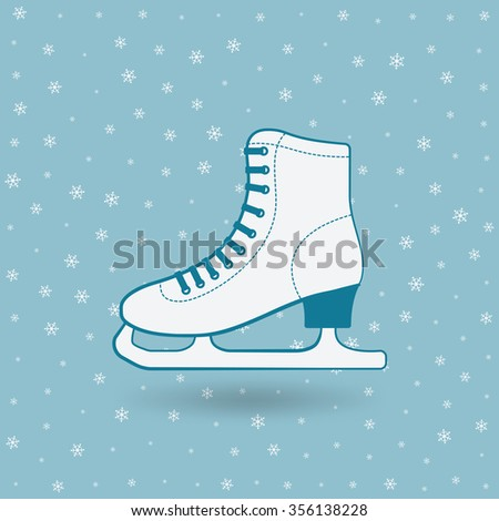 figure skate on blue background with snowflakes. illustration