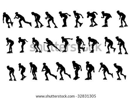 figure skaters. Silhouettes on a white background