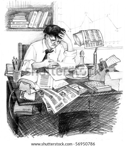"Figure. The second part of a series ""Business Development. The advantages of the computer"". Businessman mid 20 th century for the workplace. - stock photo"