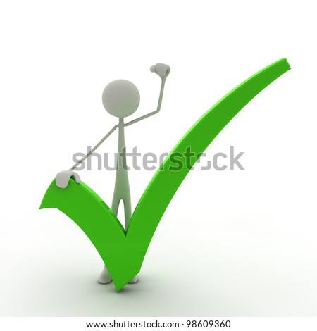 figure with a check mark hold his fist in the air - green - stock photo