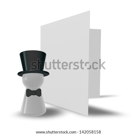 figure with big hat and blank card on white background - 3d illustration - stock photo