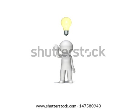 Figure with light bulb concept