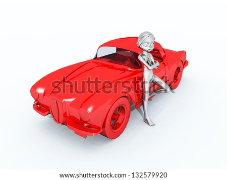 Figure with Sports Car Computer generated 3D illustration