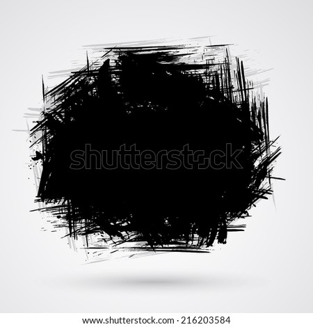 Figured brush strokes brush and ink. - stock photo