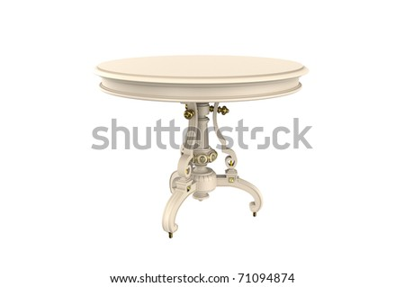 Figured round table on a white background