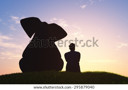 Figures elephant and man in a fog. - stock photo
