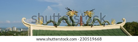 Figures of dragons in the Chinese temple - stock photo