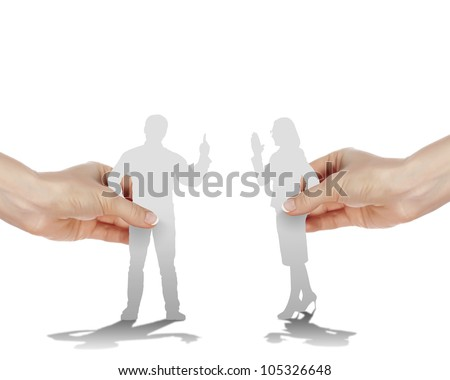 Figures of man and woman arguing with each other - stock photo