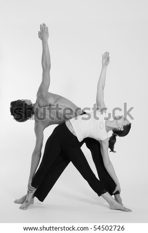 Figures of the man and the woman in sportswear on a white background