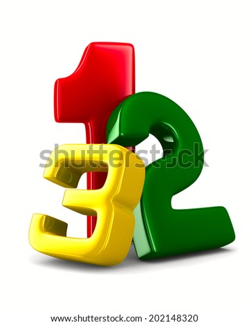 Figures on white background. Isolated 3D image - stock photo