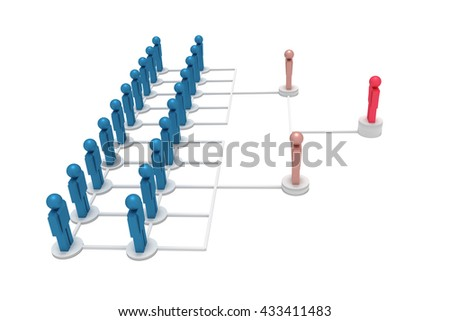 Figures symbolize corporate hierarchy, 3d illustration
