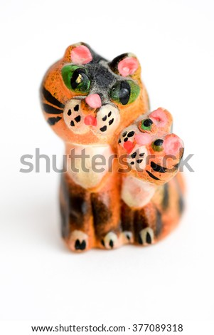 Figurine of cat with kitten - stock photo