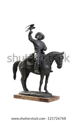 Figurine plasticine,  horseman, hunter with  falcon.  white background. - stock photo