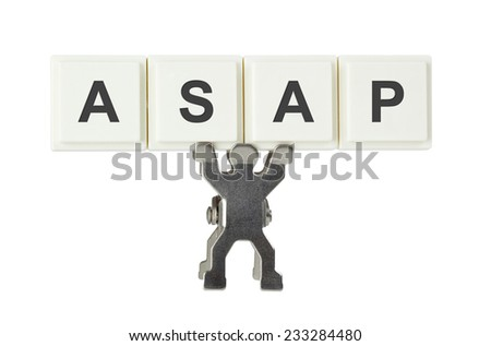Figurine with the letters ASAP isolated on white background  - stock photo