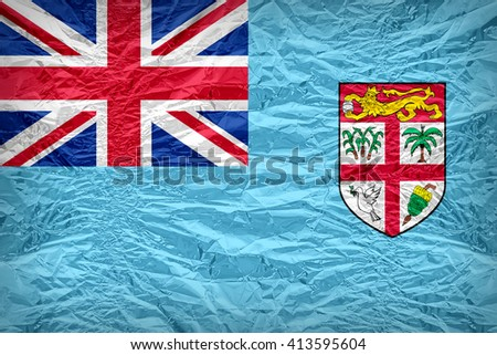 Fiji flag pattern overlay on floyd of candy shell, vintage border style - stock photo
