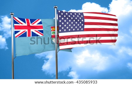Fiji flag with American flag, 3D rendering