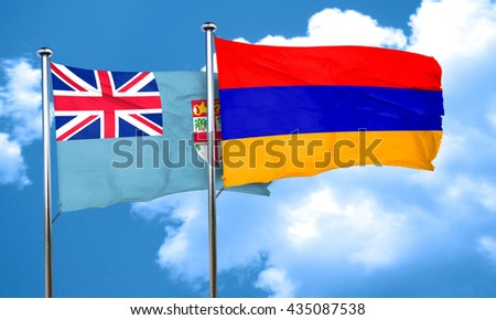 Fiji flag with Armenia flag, 3D rendering