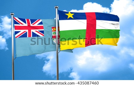 Fiji flag with Central African Republic flag, 3D rendering
