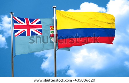 Fiji flag with Colombia flag, 3D rendering