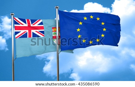 Fiji flag with european union flag, 3D rendering