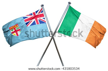 Fiji flag with Ireland flag, 3D rendering