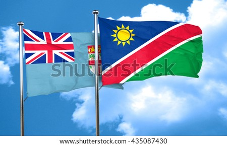 Fiji flag with Namibia flag, 3D rendering