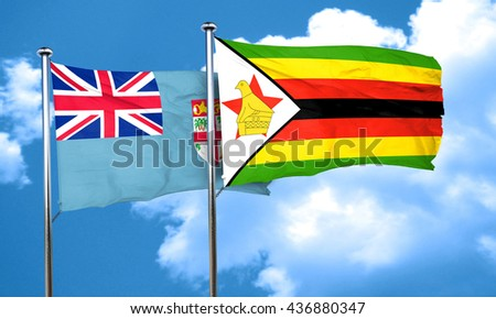Fiji flag with Zimbabwe flag, 3D rendering
