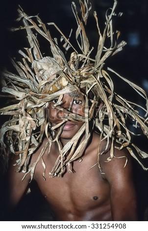 Fiji Islands, Lautoka; 28 january 2001, boy in traditional fijian outfit - EDITORIAL (FILM SCAN) - stock photo