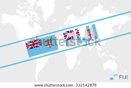 Fiji map flag and text illustration, on world map, Rasterized Copy