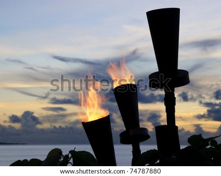 Fiji torches at sunset - stock photo