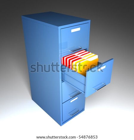 file and folder cabinet 3d business illustration - stock photo