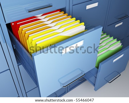 file cabinet detail and colorful folder - stock photo