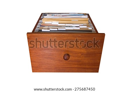 File cabinet drawer isolated on white background - stock photo